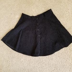 Black corduroy button up skater skirt